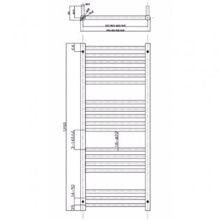MaxHeat Falmouth Straight Heated Towel Rail 1200mm H x 500mm W Stainless Steel