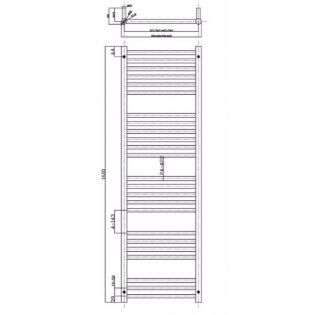 MaxHeat Falmouth Straight Heated Towel Rail 1600mm H x 350mm W Stainless Steel