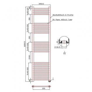 MaxHeat Falmouth Straight Towel Rail, 1600mm High x 400mm Wide, White
