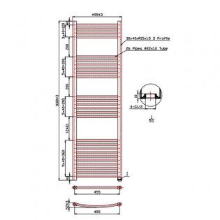 MaxHeat Falmouth Straight Towel Rail, 1600mm High x 500mm Wide, White