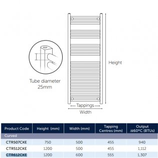 MaxHeat K-Rail 19mm Curved Towel Rail 750mm H x 500mm W - Chrome
