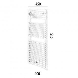 MaxHeat Lazzarini Catania Designer Towel Rail 915mm H x 450mm W - White