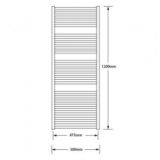 MaxHeat Marlow Heated Towel Rail 1200mm H x 500mm W Polished Stainless Steel