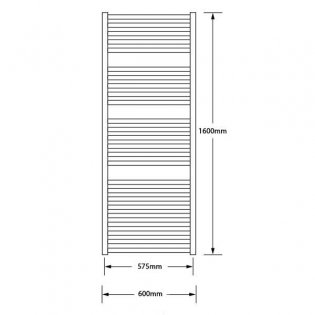 MaxHeat Marlow Heated Towel Rail 1600mm H x 600mm W Polished Stainless Steel