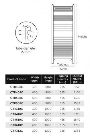 MaxHeat MaxRail Curved Heated Towel Rail 800mm H x 300mm W Chrome