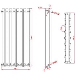MaxHeat Saltash Double Vertical Radiator, 1600mm High x 464mm Wide, Anthracite