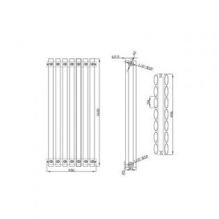 MaxHeat Saltash Double Designer Vertical Radiator 1600mm H x 406mm W White