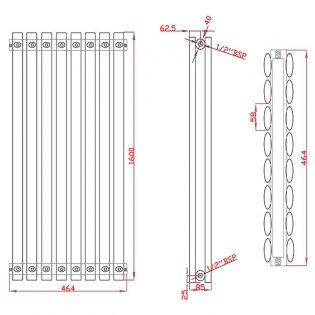 MaxHeat Saltash Double Vertical Radiator, 1600mm High x 464mm Wide, White