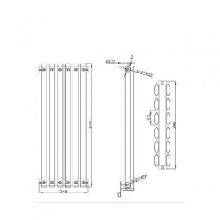 MaxHeat Saltash Double Designer Vertical Radiator 1800mm H x 348mm W Anthracite