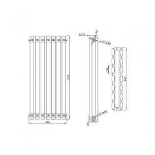 MaxHeat Saltash Double Designer Vertical Radiator 1800mm H x 406mm W White