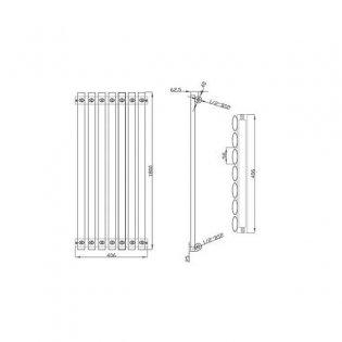 MaxHeat Saltash Single Designer Vertical Radiator 1800mm H x 406mm W White