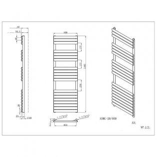 MaxHeat Saltash Designer Towel Rail, 1595mm High x 500mm Wide, Black
