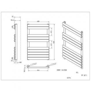 MaxHeat Saltash Designer Towel Rail, 825mm High x 500mm Wide, Black