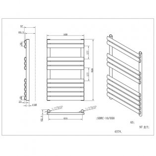 MaxHeat Saltash Designer Towel Rail, 825mm High x 500mm Wide, Silver