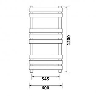 MaxHeat Toledo Designer Towel Rail 1200mm H x 600mm W - Stainless Steel