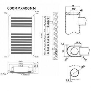 MaxHeat Trade Curved Heated Towel Rail - 600mm High x 400mm Wide - Chrome
