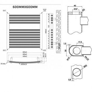 MaxHeat Trade Curved Heated Towel Rail - 600mm High x 600mm Wide - Chrome