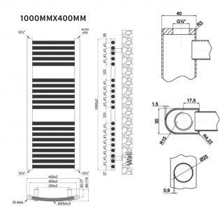 MaxHeat Trade Curved Heated Towel Rail - 1000mm High x 400mm Wide - Chrome