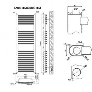 MaxHeat Trade Curved Heated Towel Rail - 1200mm High x 400mm Wide - Chrome