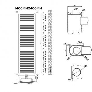 MaxHeat Trade Curved Heated Towel Rail - 1400mm High x 400mm Wide - Chrome