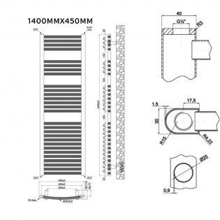 MaxHeat Trade Curved Heated Towel Rail - 1400mm High x 450mm Wide - Chrome
