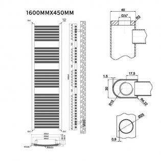 MaxHeat Trade Curved Heated Towel Rail - 1600mm High x 450mm Wide - Chrome