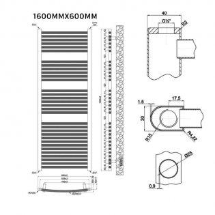 MaxHeat Trade Curved Heated Towel Rail - 1600mm High x 600mm Wide - Chrome