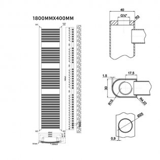 MaxHeat Trade Curved Heated Towel Rail - 1800mm High x 400mm Wide - Chrome