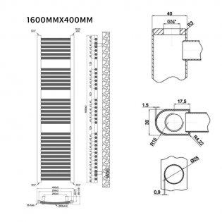 MaxHeat Trade Straight Heated Towel Rail - 1600mm High x 400mm Wide - Black