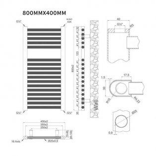 MaxHeat Trade Straight Heated Towel Rail - 800mm High x 400mm Wide - Chrome