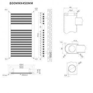 MaxHeat Trade Straight Heated Towel Rail - 800mm High x 450mm Wide - White