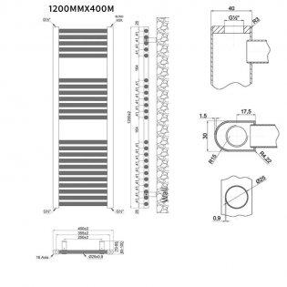 MaxHeat Trade Straight Heated Towel Rail - 1200mm High x 400mm Wide - White
