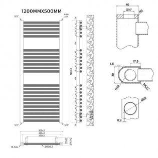 MaxHeat Trade Straight Heated Towel Rail - 1200mm High x 500mm Wide - White