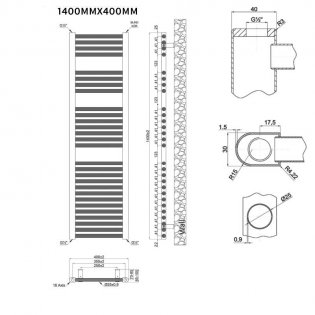 MaxHeat Trade Straight Heated Towel Rail - 1400mm High x 400mm Wide - Chrome