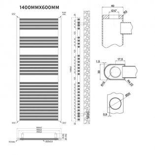 MaxHeat Trade Straight Heated Towel Rail - 1400mm High x 600mm Wide - Chrome