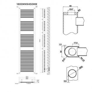 MaxHeat Trade Straight Heated Towel Rail - 1800mm High x 450mm Wide - Chrome