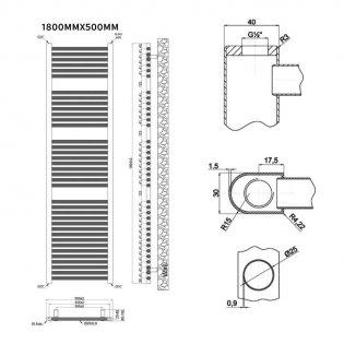 MaxHeat Trade Straight Heated Towel Rail - 1800mm High x 500mm Wide - White