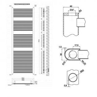 MaxHeat Trade Straight Heated Towel Rail - 1800mm High x 600mm Wide - Chrome