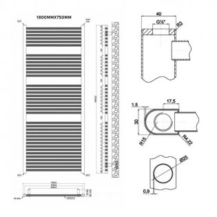 MaxHeat Trade Straight Heated Towel Rail - 1800mm High x 750mm Wide - Chrome