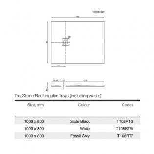 Merlyn TrueStone Rectangular Shower Tray with Waste 1000mm x 800mm - Fossil Grey
