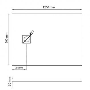 Merlyn TrueStone Rectangular Shower Tray with Waste 1200mm x 900mm - Slate Black