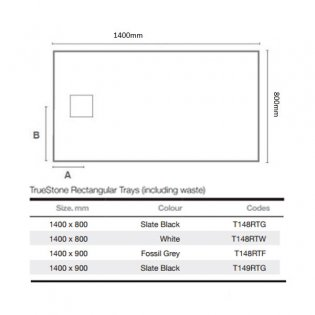 Merlyn TrueStone Rectangular Shower Tray with Waste 1400mm x 800mm - Slate Black