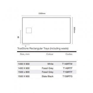 Merlyn TrueStone Rectangular Shower Tray with Waste 1500mm x 800mm - Fossil Grey