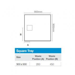 Merlyn TrueStone Square Shower Tray with Waste 900mm x 900mm - Fossil Grey