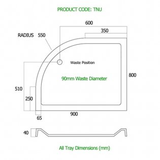 MX Elements Offset Quadrant Shower Tray with Waste 900mm x 800mm Right Handed
