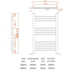 Orbit Chromo Straight Heated Towel Rail 800mm H x 500mm W - Chrome