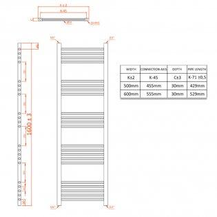 Orbit Chromo Straight Heated Towel Rail 1600mm H x 500mm W - Chrome