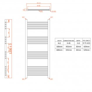Orbit Chromo Straight Heated Towel Rail 1200mm H x 600mm W - Chrome