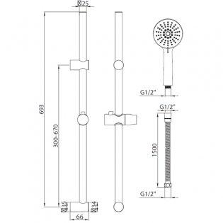 Orbit Middleton Shower Slide Rail Kit with Round Handset and Adjustable Brackets - Chrome