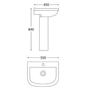 Orbit Nix Basin with Full Pedestal 550mm Wide - 1 Tap Hole